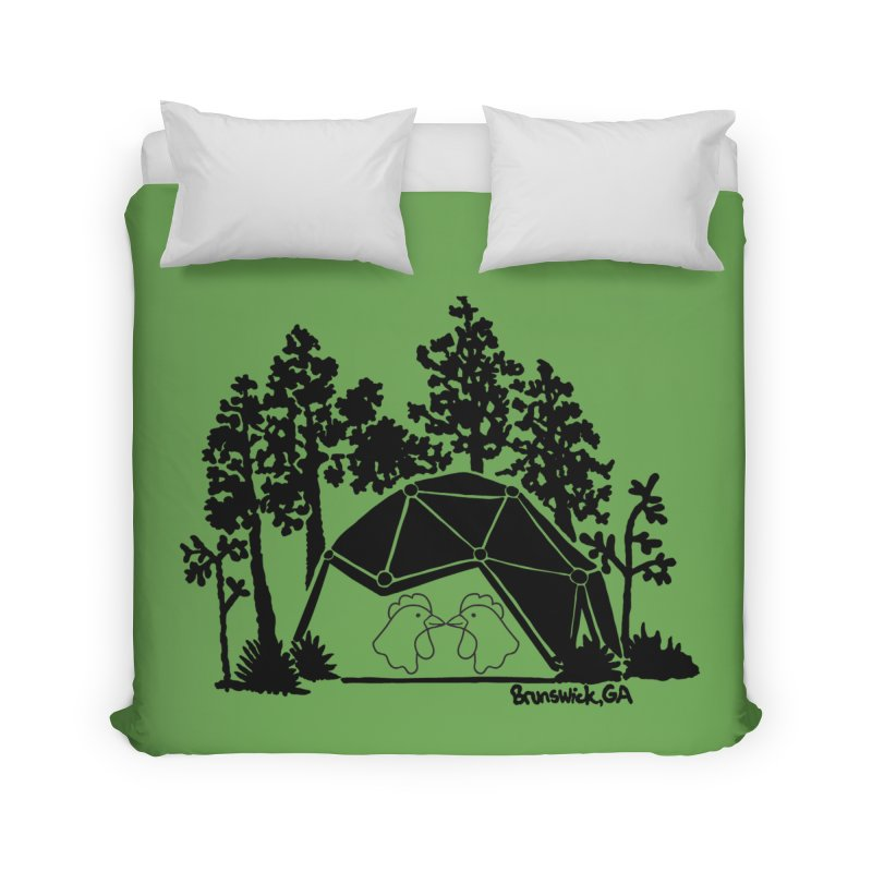 Hostel in the Forest Dome Chickens, on a green background Home Duvet by Hostel in the Forest