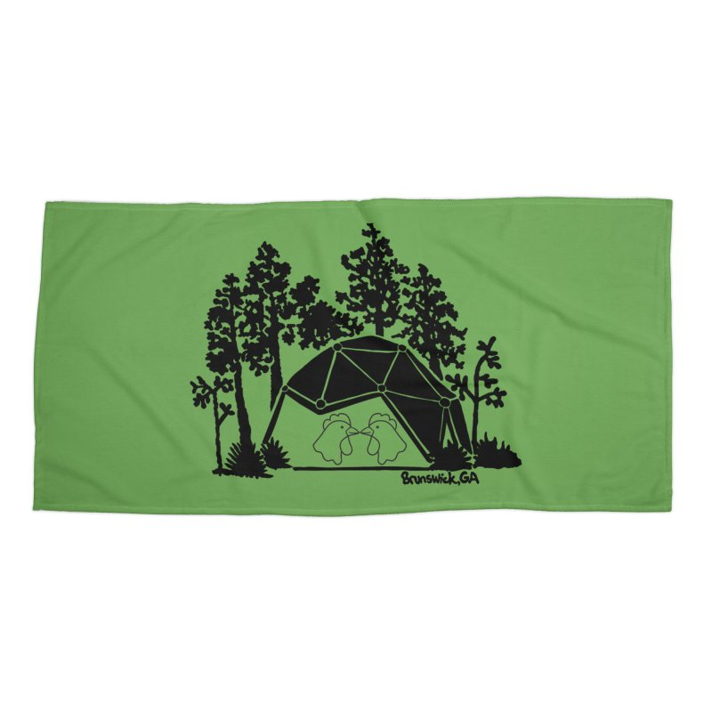 Hostel in the Forest Dome Chickens, on a green background Accessories Beach Towel by Hostel in the Forest