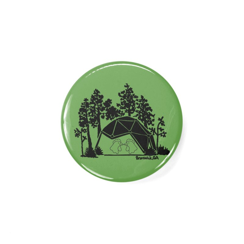 Hostel in the Forest Dome Chickens, on a green background Accessories Button by Hostel in the Forest
