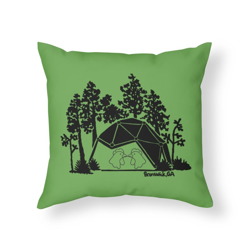 Hostel in the Forest Dome Chickens, on a green background Home Throw Pillow by Hostel in the Forest