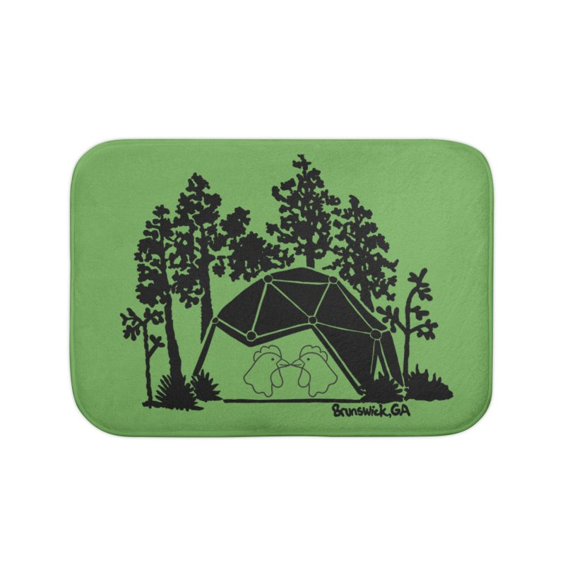 Hostel in the Forest Dome Chickens, on a green background Home Bath Mat by Hostel in the Forest