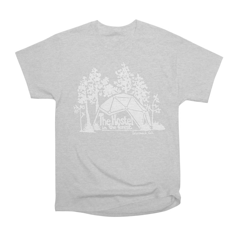 Hostel in the Forest Domes Logo, white on a green background Men's T-Shirt by Hostel in the Forest