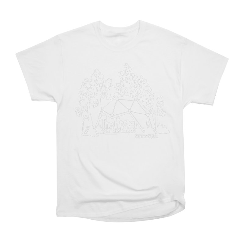 Hostel in the Forest Domes Logo, white on a green background Women's T-Shirt by Hostel in the Forest