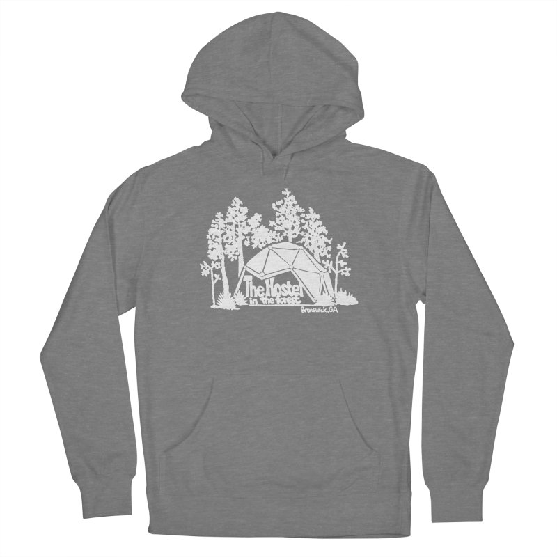 Hostel in the Forest Domes Logo, white on a green background Women's Pullover Hoody by Hostel in the Forest