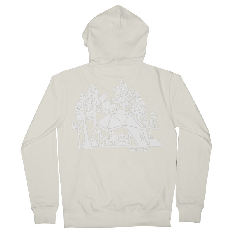 Hostel in the Forest Domes Logo, white on a green background Women's Zip-Up Hoody by Hostel in the Forest