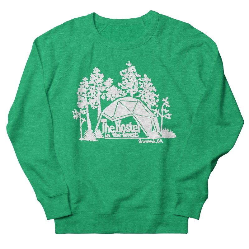 Hostel in the Forest Domes Logo, white on a green background Women's Sweatshirt by Hostel in the Forest