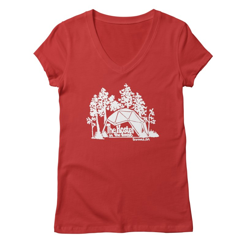 Hostel in the Forest Domes Logo, white on a green background Women's V-Neck by Hostel in the Forest