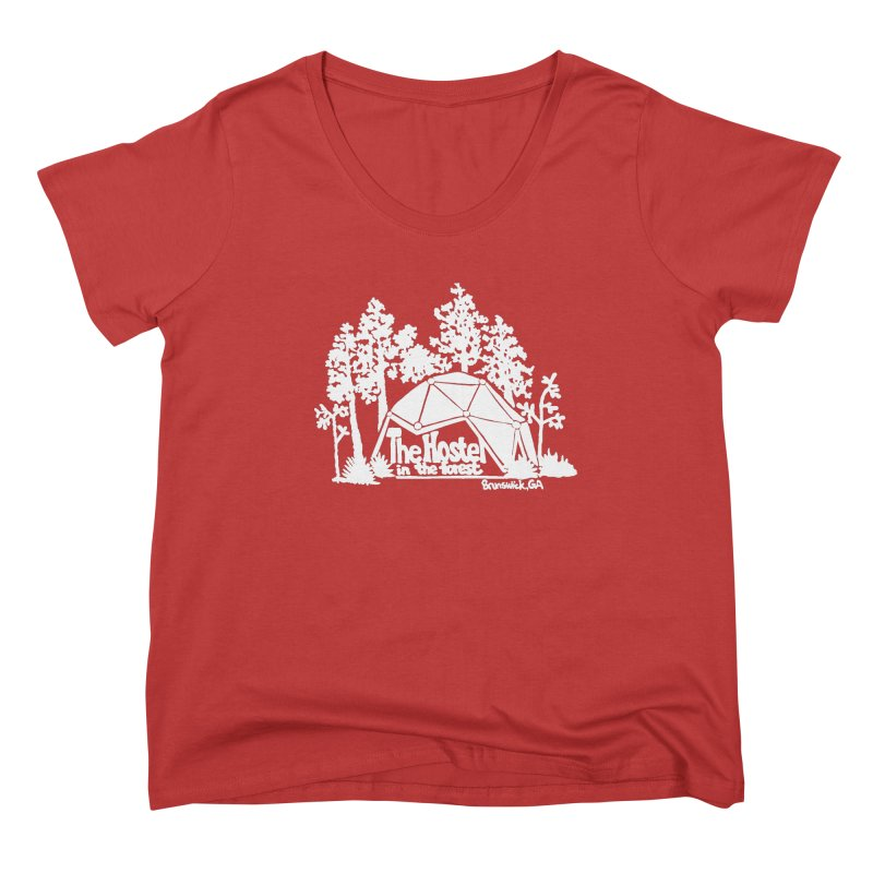 Hostel in the Forest Domes Logo, white on a green background Women's Scoop Neck by Hostel in the Forest