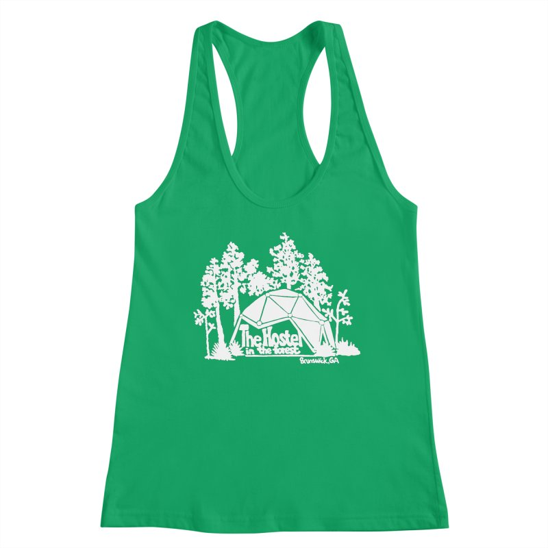 Hostel in the Forest Domes Logo, white on a green background Women's Tank by Hostel in the Forest