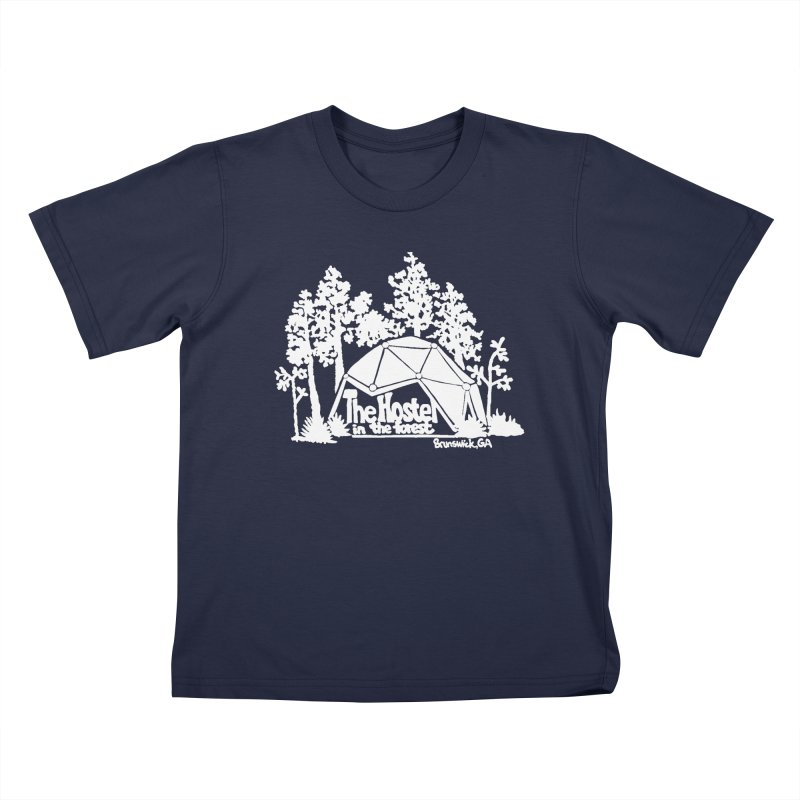 Hostel in the Forest Domes Logo, white on a green background Kids T-Shirt by Hostel in the Forest