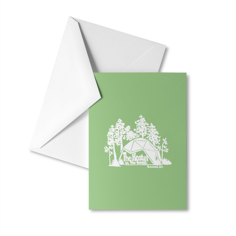 Hostel in the Forest Domes Logo, white on a green background Accessories Greeting Card by Hostel in the Forest