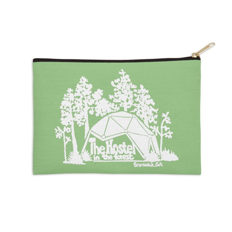 Hostel in the Forest Domes Logo, white on a green background Accessories Zip Pouch by Hostel in the Forest