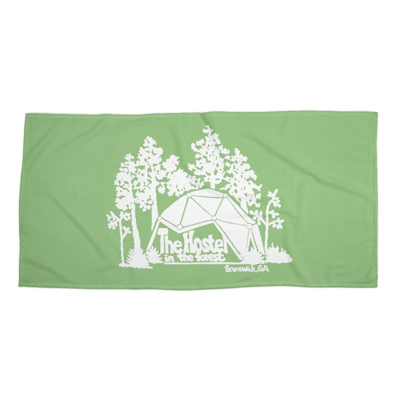 Hostel in the Forest Domes Logo, white on a green background Accessories Beach Towel by Hostel in the Forest