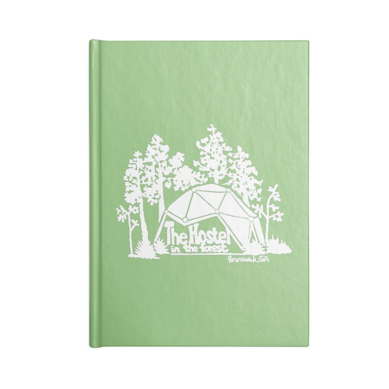 Hostel in the Forest Domes Logo, white on a green background Accessories Notebook by Hostel in the Forest