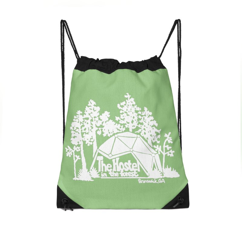 Hostel in the Forest Domes Logo, white on a green background Accessories Bag by Hostel in the Forest