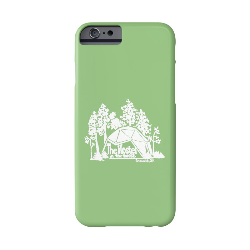 Hostel in the Forest Domes Logo, white on a green background Accessories Phone Case by Hostel in the Forest