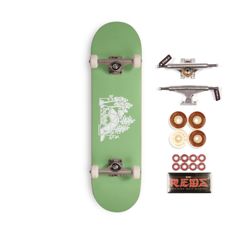 Hostel in the Forest Domes Logo, white on a green background Accessories Skateboard by Hostel in the Forest