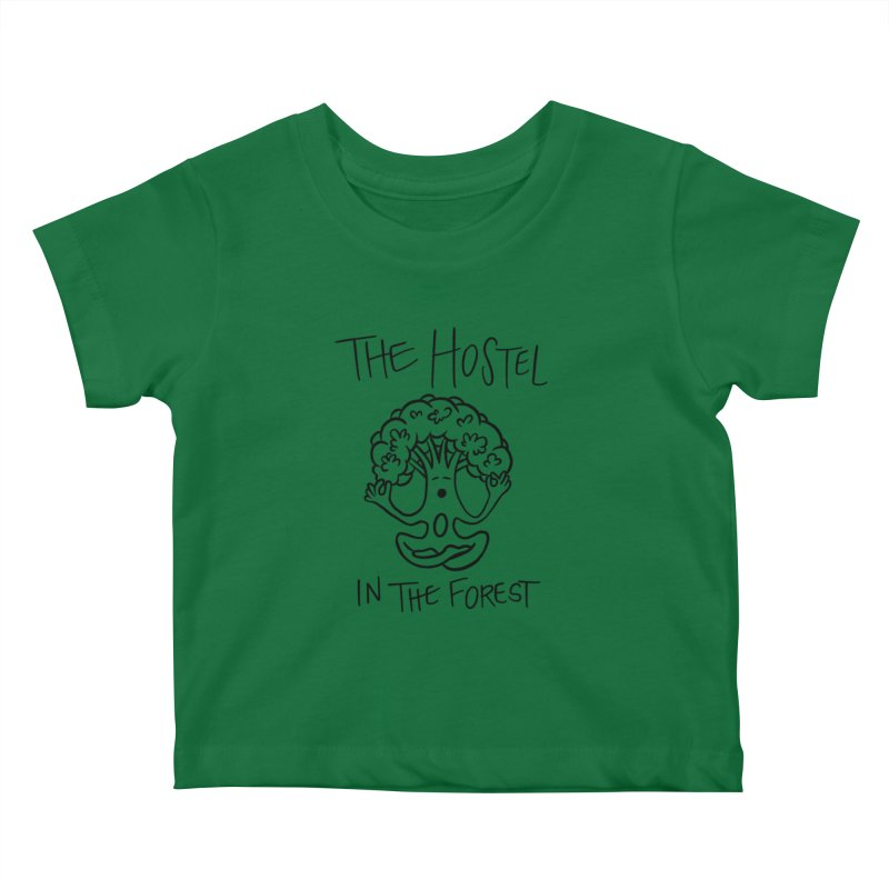 Hostel Yoga Tree by LeAnn Sauls (black & white) Kids Baby T-Shirt by Hostel in the Forest