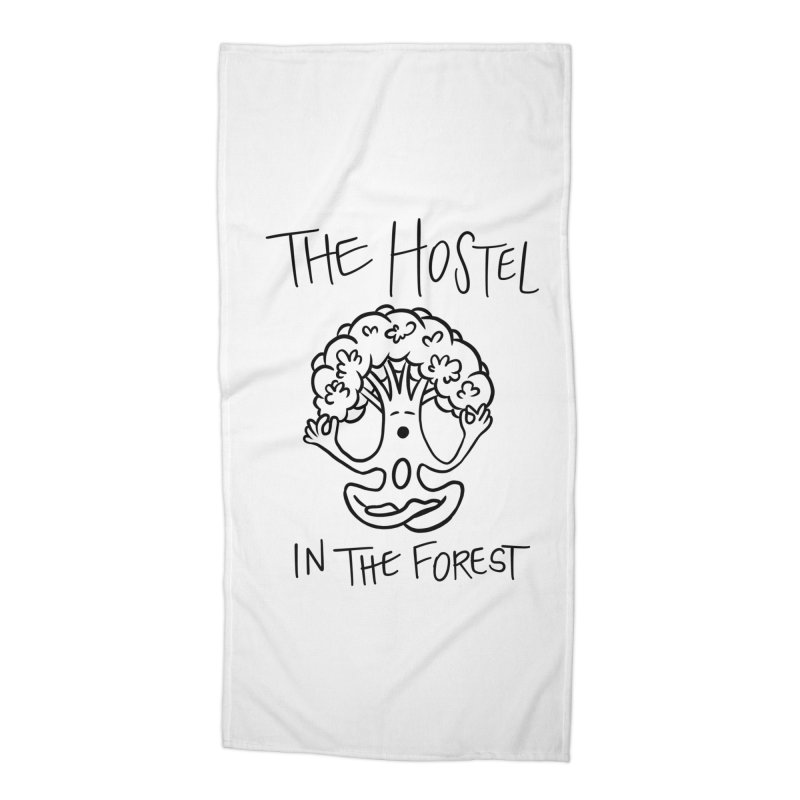 Hostel Yoga Tree by LeAnn Sauls (black & white) Accessories Beach Towel by Hostel in the Forest