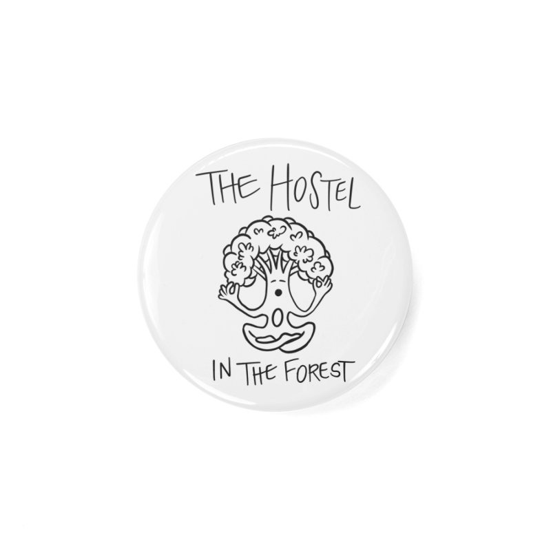 Hostel Yoga Tree by LeAnn Sauls (black & white) Accessories Button by Hostel in the Forest