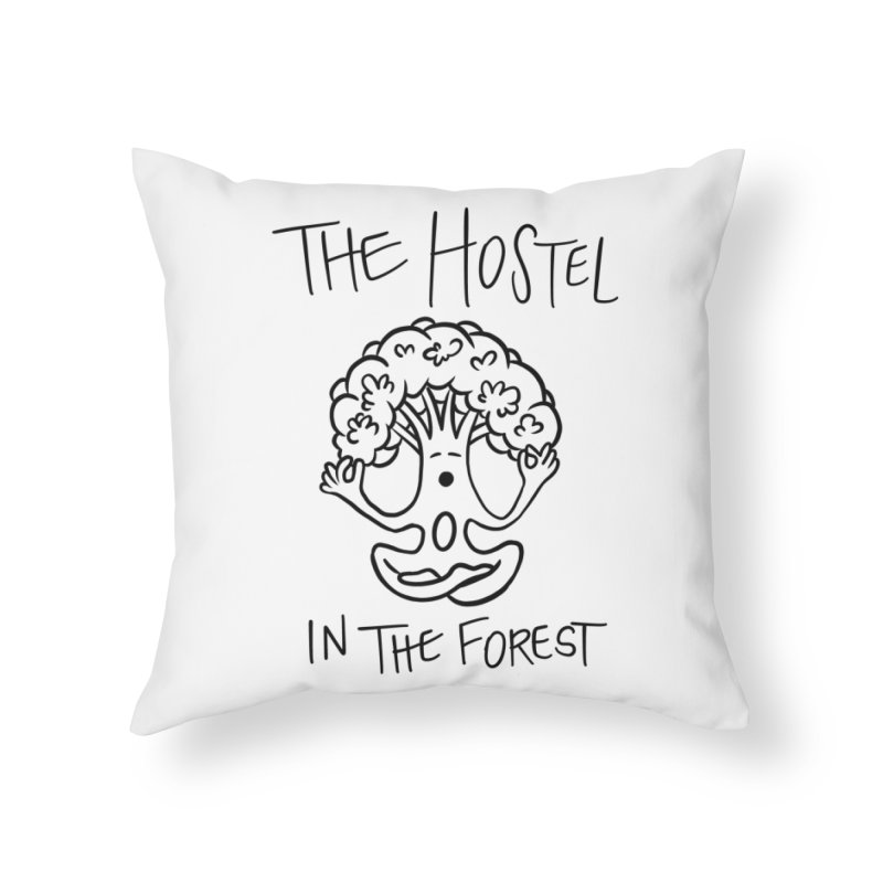 Hostel Yoga Tree by LeAnn Sauls (black & white) Home Throw Pillow by Hostel in the Forest