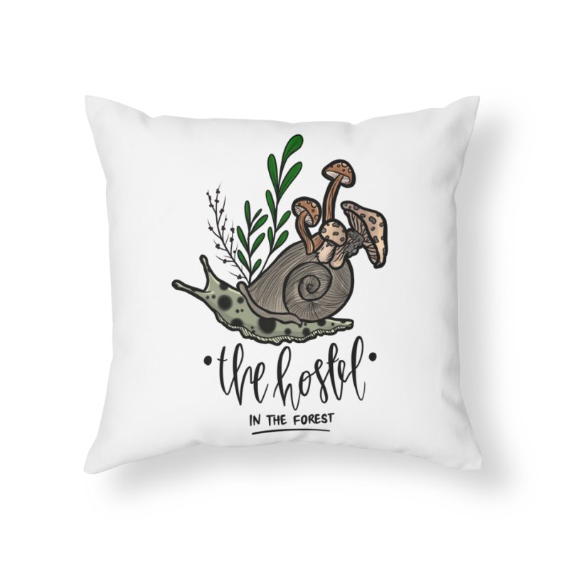 Shroom Snail by LeAnn Sauls Home Throw Pillow by Hostel in the Forest