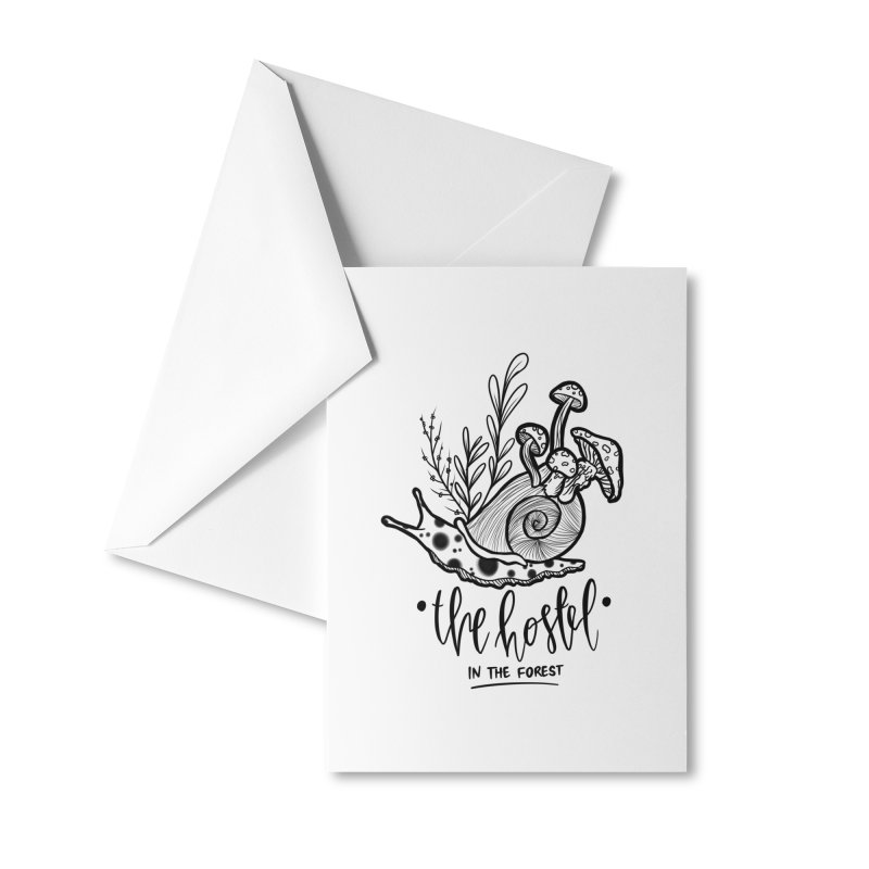 Shroom Snail by LeAnn Sauls (black & white) Accessories Greeting Card by Hostel in the Forest