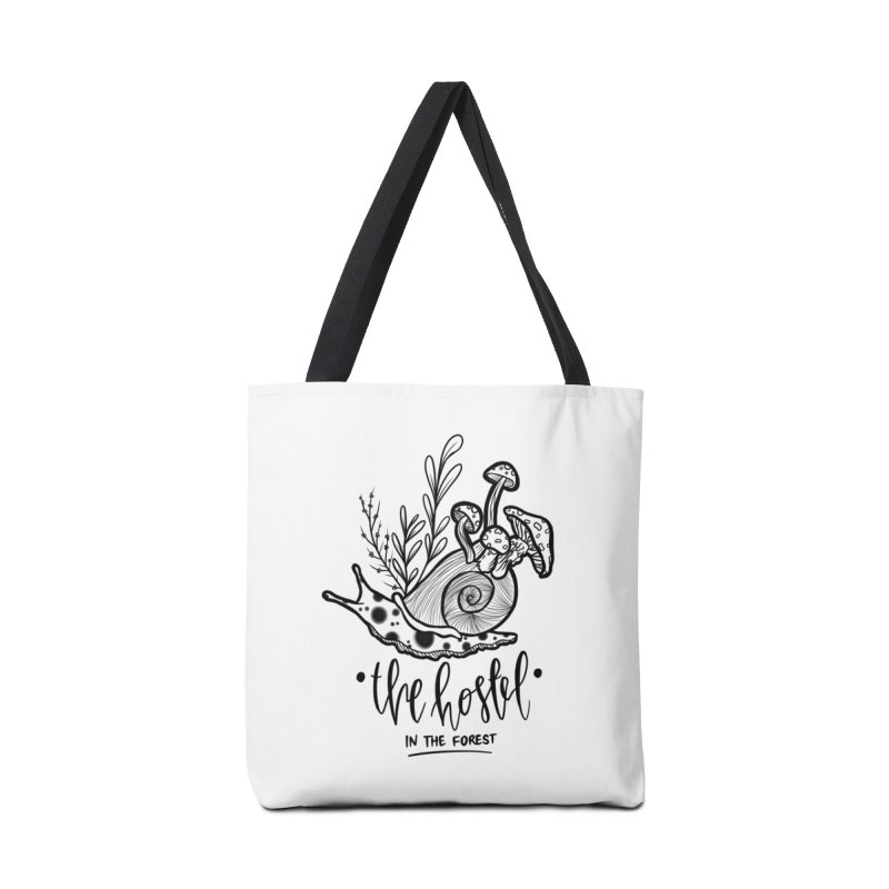 Shroom Snail by LeAnn Sauls (black & white) Accessories Bag by Hostel in the Forest