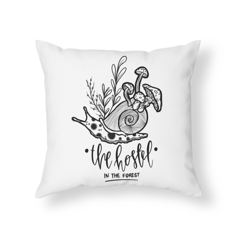 Shroom Snail by LeAnn Sauls (black & white) Home Throw Pillow by Hostel in the Forest