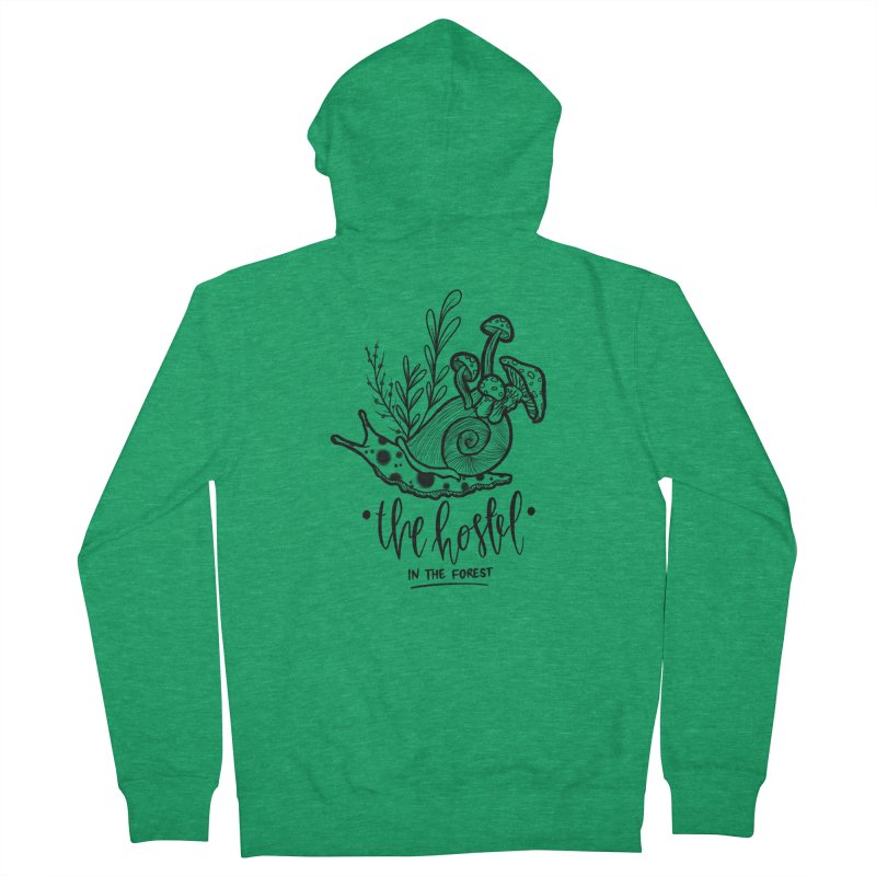 Shroom Snail by LeAnn Sauls (black & white) Women's Zip-Up Hoody by Hostel in the Forest