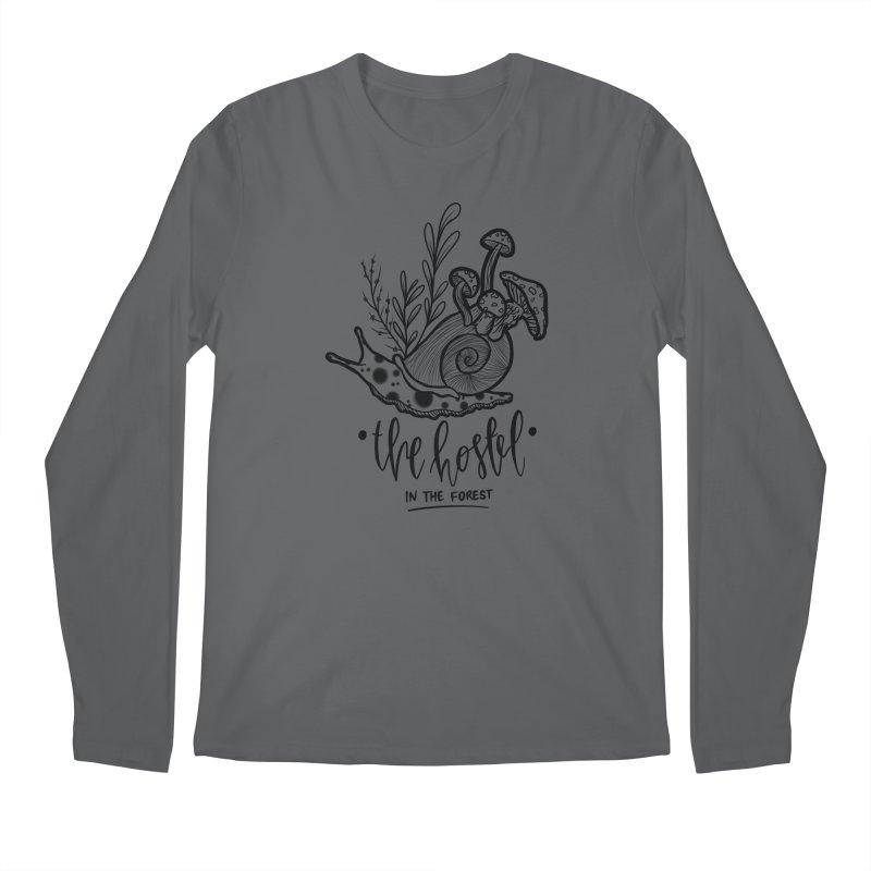 Shroom Snail by LeAnn Sauls (black & white) Men's Longsleeve T-Shirt by Hostel in the Forest