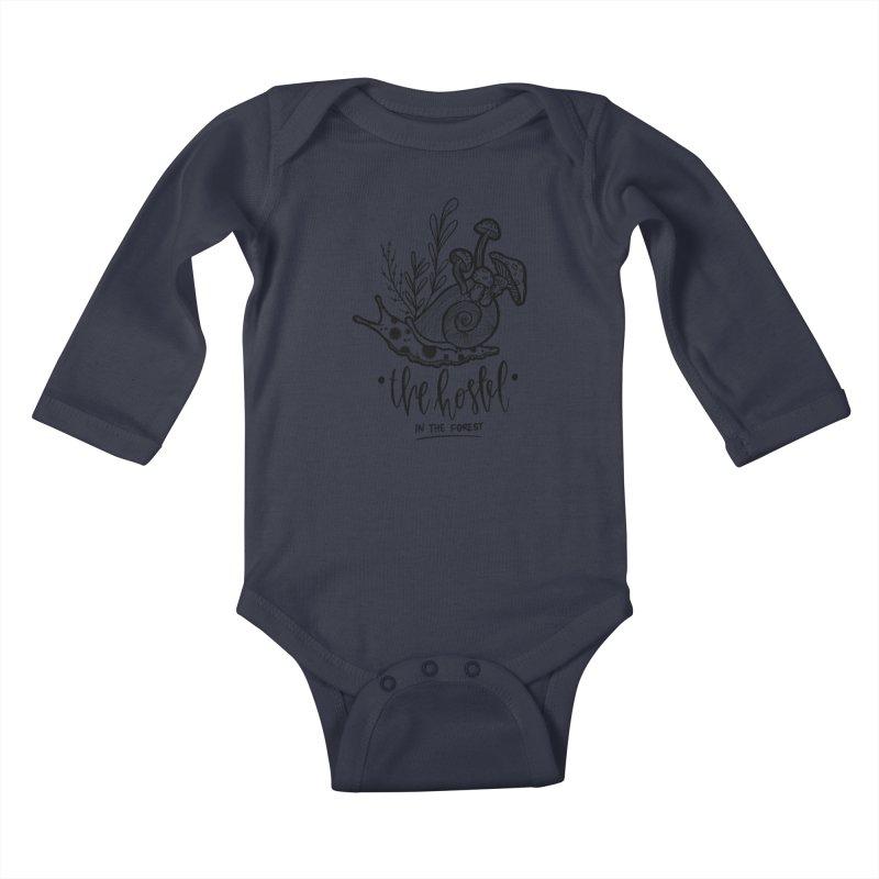 Shroom Snail by LeAnn Sauls (black & white) Kids Baby Longsleeve Bodysuit by Hostel in the Forest