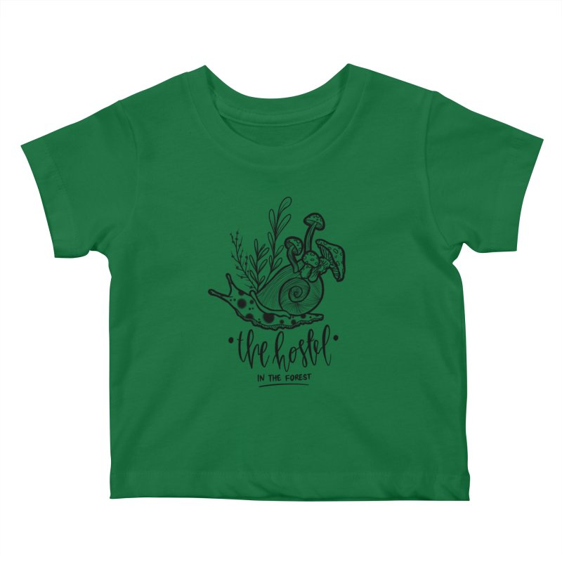 Shroom Snail by LeAnn Sauls (black & white) Kids Baby T-Shirt by Hostel in the Forest