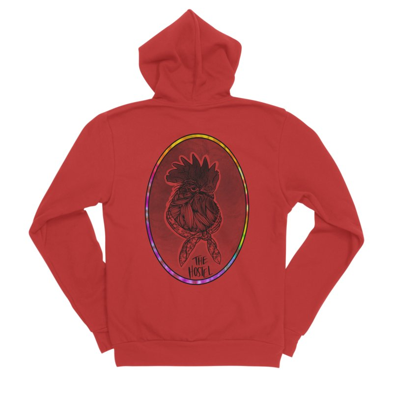 Rooster by LeAnn Sauls (color border) Women's Zip-Up Hoody by Hostel in the Forest