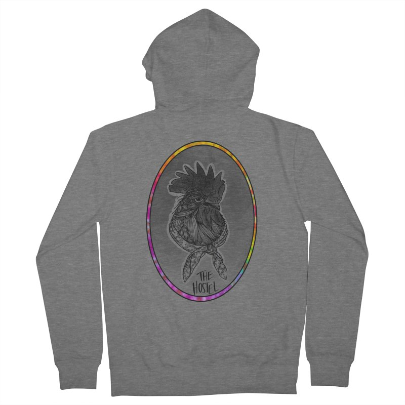 Rooster by LeAnn Sauls (color border) Men's Zip-Up Hoody by Hostel in the Forest