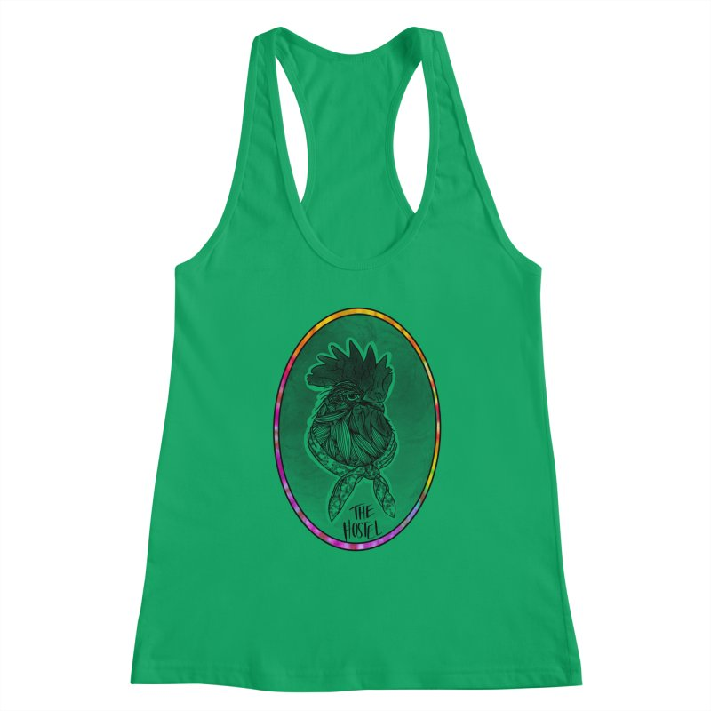 Rooster by LeAnn Sauls (color border) Women's Tank by Hostel in the Forest