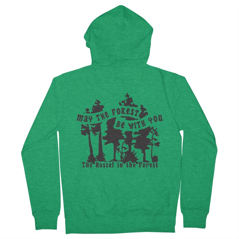 May the Forest by Erica Kelly, black on a clear background Men's Zip-Up Hoody by Hostel in the Forest