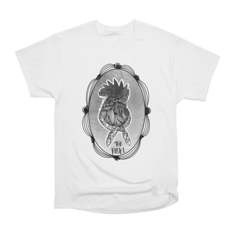 Rooster by LeAnn Sauls (fancy border) Women's T-Shirt by Hostel in the Forest