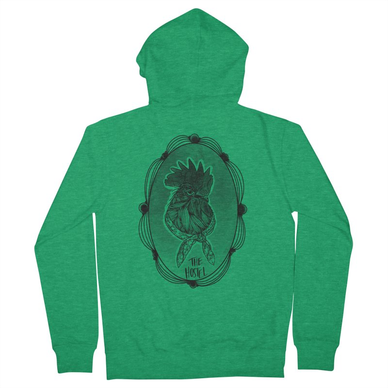 Rooster by LeAnn Sauls (fancy border) Men's Zip-Up Hoody by Hostel in the Forest