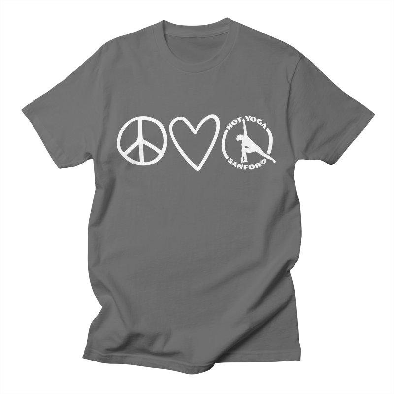Peace, Love, Hot Yoga Sanford Men's T-Shirt by Hot Yoga Sanford's Storefront