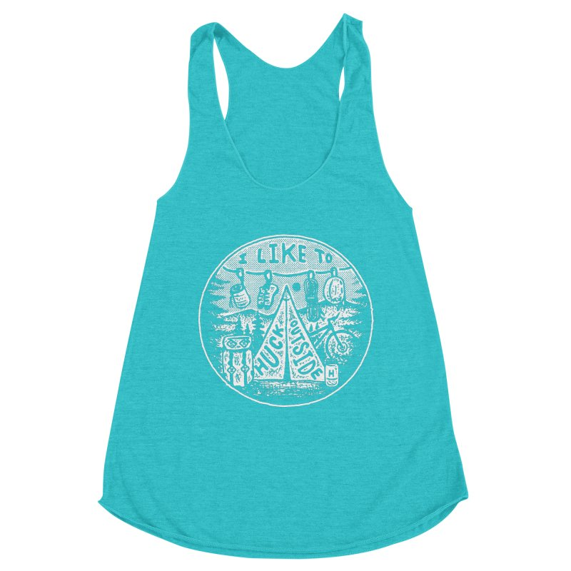 I like to Huck Outside Women's Racerback Triblend Tank by Huck Adventures Swag