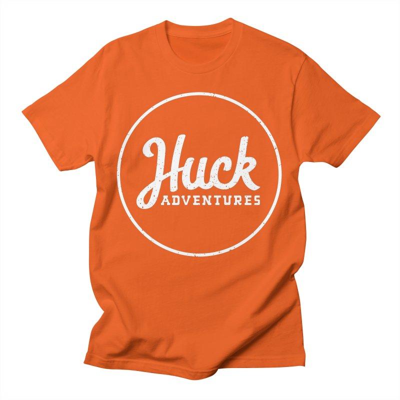 Classic Huck Adventures Logo White Men's T-Shirt by Huck Adventures Swag