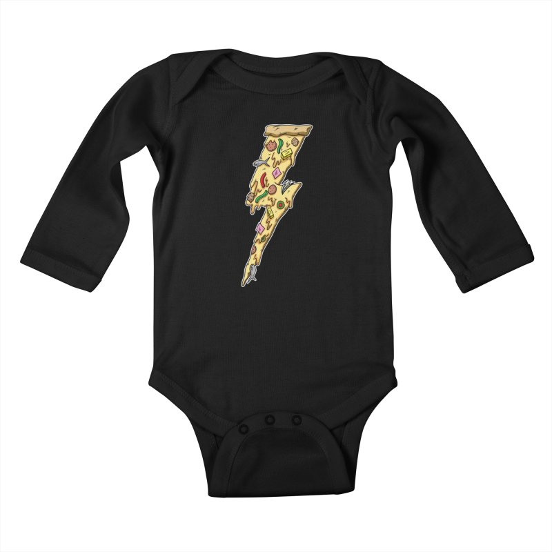 Pizza Bolt!  Kids Baby Longsleeve Bodysuit by Humor Tees