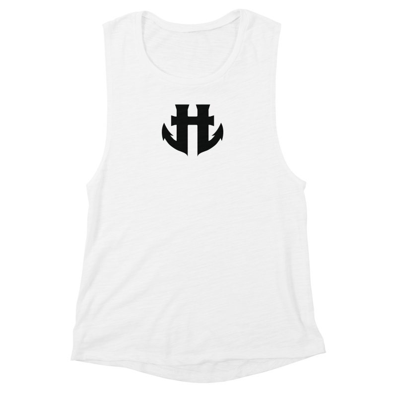 Standard Split Anchor Classic Black Women's Muscle Tank by Humanoid Wakeboards