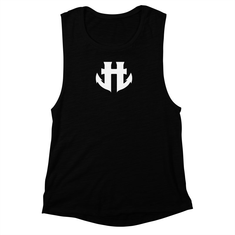 Standard Split Anchor Classic White Women's Muscle Tank by Humanoid Wakeboards