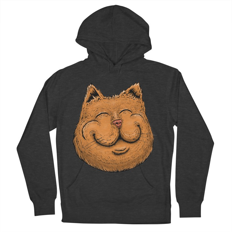 Happy Cat Men's French Terry Pullover Hoody by IDC Art House