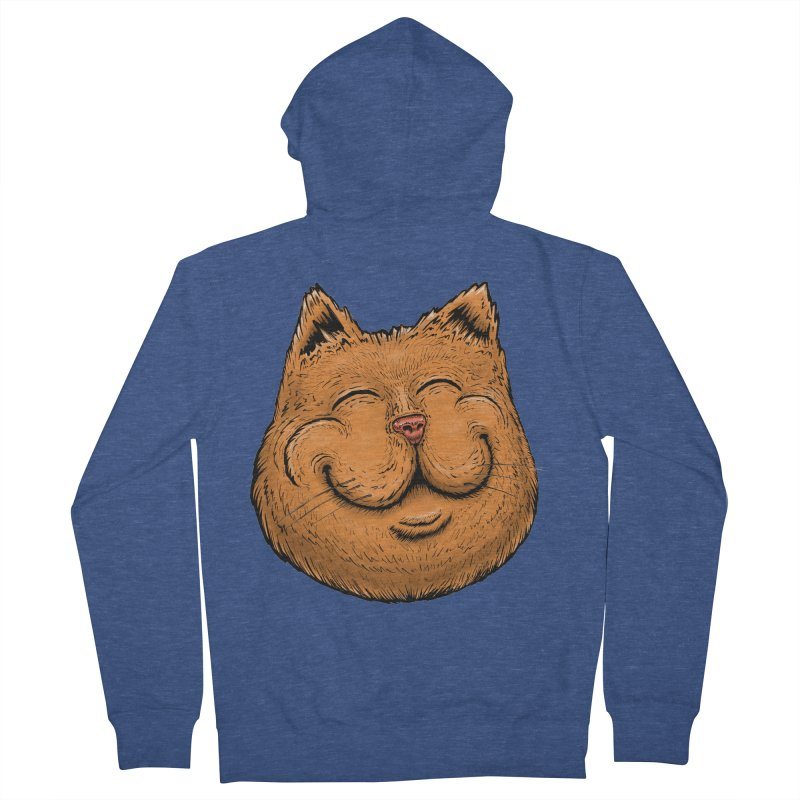 Happy Cat Men's French Terry Zip-Up Hoody by IDC Art House