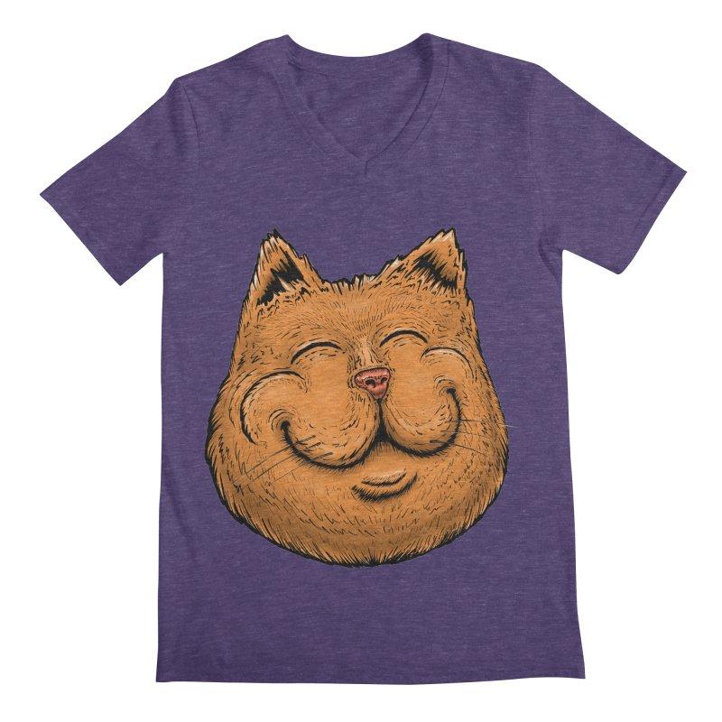 Happy Cat Men's Regular V-Neck by Stiky Shop