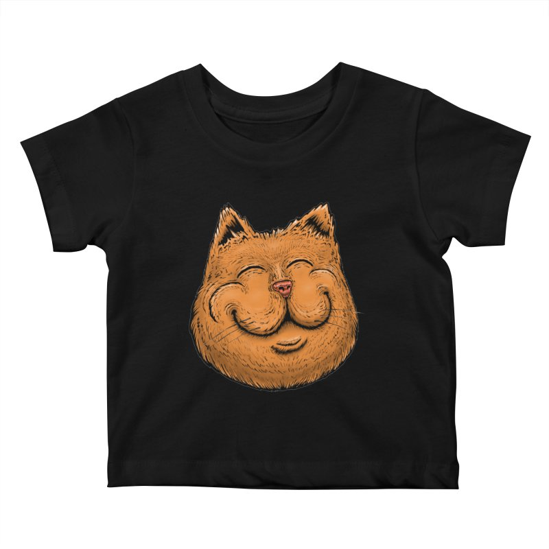 Happy Cat Kids Baby T-Shirt by IDC Art House