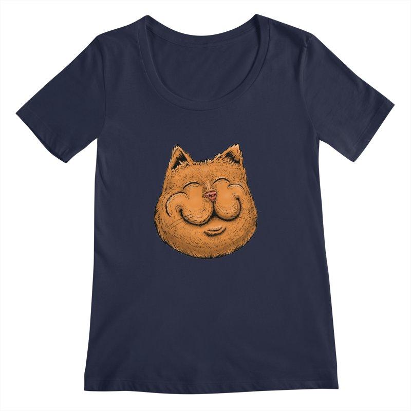 Happy Cat Women's Regular Scoop Neck by IDC Art House